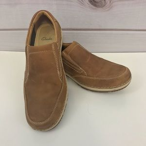 Clarks Shiply Step Mocs Size 9.5 M Brown Leather